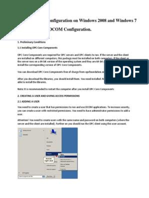 OPC and DCOM Configuration_Windows Server 2008   Puerto