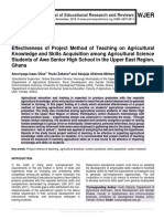 Effectiveness of Project Method of Teaching on Agricultural Knowledge and Skills Acquisition among Agricultural Science Students of Awe Senior High School in the Upper East Region, Ghana
