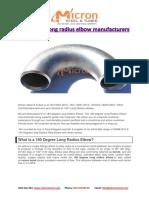 180 Degree Long Radius Elbow Manufacturers