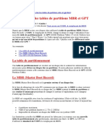 Table de Partition MBR GPT