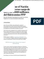 Afirman Que El Nación Deberá Hacerse Cargo de Los USD 1.000 Millones Del Fideicomiso PPP