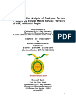 A Comparative Analysis of Customer Services Provided by Cellular Mobile Service Providers in Mumbai Region