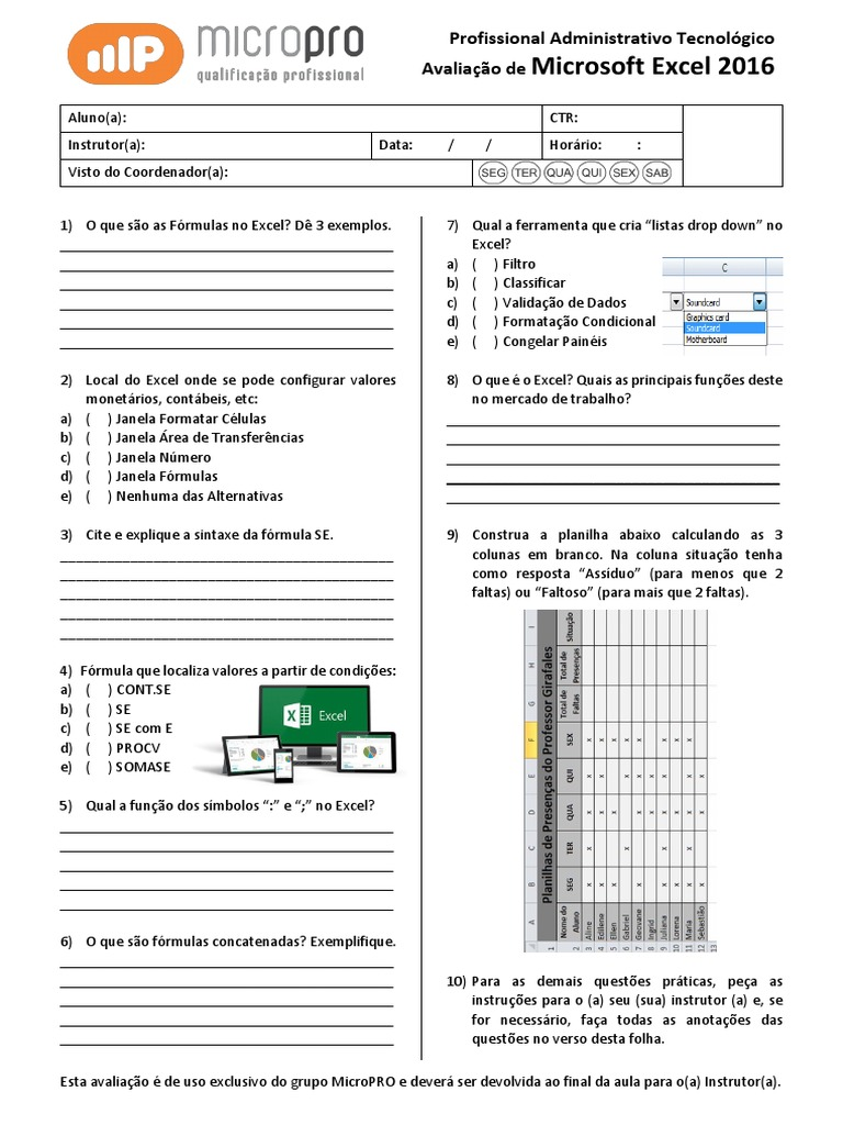 Avaliação de Microsoft Excel 20   Microsoft Excel   Planilha