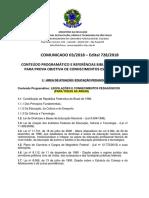 Comunicado 03 - Conteudo e Referencias Bibliograficas