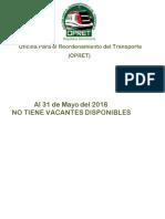 Informacion de Vacantes OPRET Al 31 de Mayo 2018