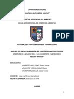 Análisis Del Impacto Ambiental en Procesos Constructivos de Apertura de La Carretera 1
