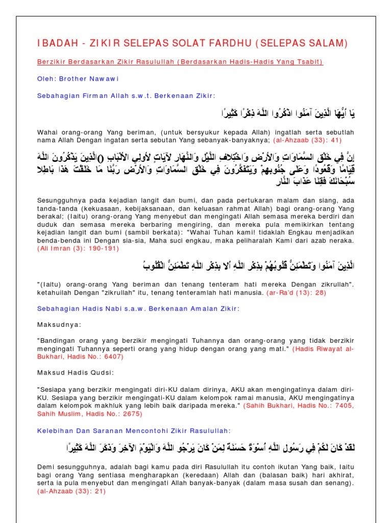 Ibadah Zikir Selepas Solat Fardhu Malay Language