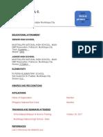 Sample Resume for Immersion