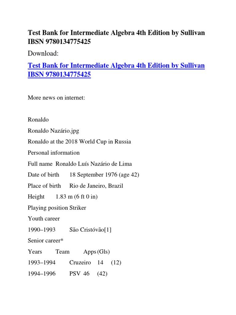Test Bank for Intermediate Algebra 4th Edition by Sullivan IBSN  9780134775425   Association Football Teams   Association Football Clubs