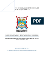 Bases de Licitacion Agua Potable San Jose Ixtapa, Zihuatanejo, Gro