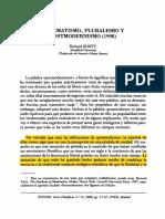 Pragmatismo, Pluralismo y Posmodernismo (2)