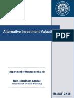 Course Outline Alternative Investment Valuation- Muhammad Owais Qarni