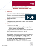 PS15 2018 Guidelines for the Perioperative Care of Patients Selected for Day Care Surgery