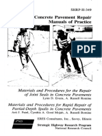 Concrete Pavement Repair - Manuals of Practise (Shrp-H-349)