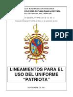 Lineamientos Uso Uniforme Patriota
