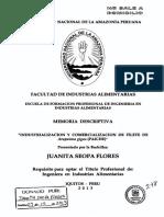 Industrializacion y Comercializacion Del Filete de Paiche