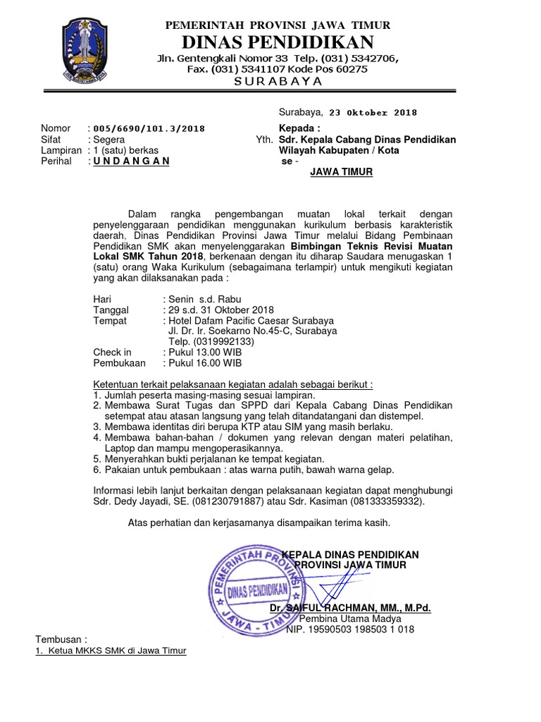 Contoh Kop Surat Dinas Pendidikan Provinsi Jawa Timur ...