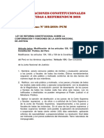 Modificaciones Constitucionales Sometidas a Referendum 2018
