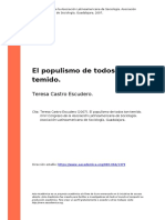 Teresa Castro Escudero (2007). El Populismo de Todos Tan Temido