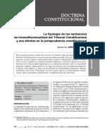 La tipología de las sentencias de inconstitucionalidad del Tribunal Constitucional y sus efectos en la jurisprudencia constitucional.