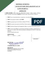Affidavit- Loss of Passport