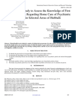 A Descriptive Study to Assess the Knowledge of First Degree Relatives Regarding Home Care of Psychiatric Patients in Selected Areas of Hubballi