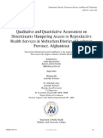 Qualitative and Quantitative Assessment on Determinants Hampering Access to Reproductive Health Services in Mehtarlam District of Laghman Province, Afghanistan