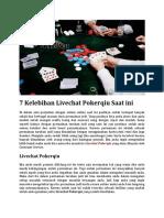 7 Kelebihan Livechat Pokerqiu Saat Ini