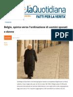Belgio Spinta Verso Ordinazione Di Uomini Sposati e Donne