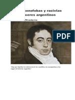 Frases Xenofobas y Racistas de Próceres Argentinos