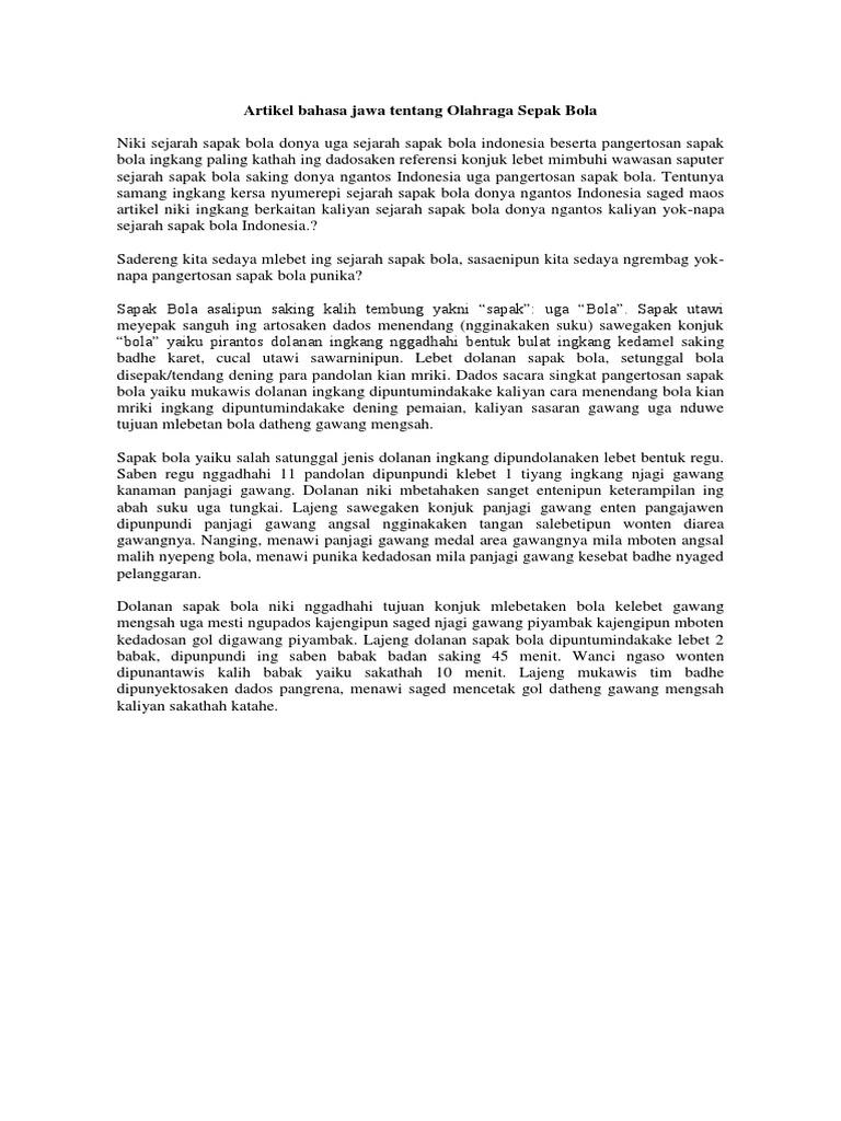 Artikel Bahasa Jawa Tentang Olahraga Sepak Bola