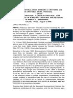 Cruz Et.al v. Cristobal Et.al - GR 140422 (2006)