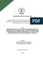 """Implementación de Un Sistema de Tratamiento de Agua Residual Para La Obtencion de La Licencia Ambiental en La Compañia Empacadora """"Empacreci s.a."""" en El Cantón Durán Provincia Del Guayas"""