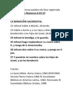 La Bendicion Sacerdotal Numeros 6.22