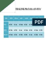 Jadwal Dokter Klinik Pratama Asy-syfa