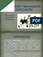Especiación y Mecanismos de Especiación2