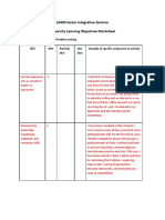 university learning objectives worksheet