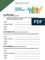 Social Club Membership Forms