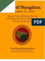 Stoughton Town Meeting Articles