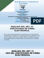Analisis del Art. 20 Certificado de Firma Electronica