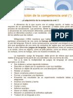 5- La Adquisición de La Competencia Oral