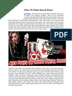 Agen Poker 99 Online Banyak Bonus