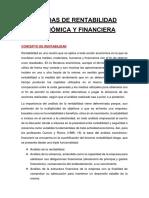 Medidas de Rentabilidad Financiera y Económica