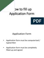 KOREA - Sample Fill Up Application Form