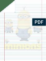 Folha Para Impressão - Pautado Minions para Fichário