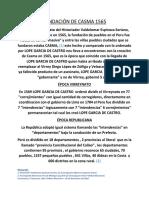 Fundacion de Casma / Lope Garcia de Castro Ordena Fundacion Masiva de pueblos en Peru 1565