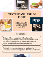 Texture Analysis of Food