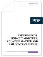 8. Find Out Moisture, Volatile Matter and Ash Content in Fuel