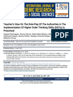 Teachers View on the Role-Play of the Authorities in the Implementation of Higher Order Thinking Skills (HOTs) in Preschool2