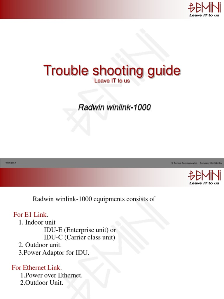Radwin/ Ceragon Troubleshooting | Modem | Coaxial Cable
